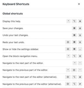 Gutenberg keyboard shortcut list